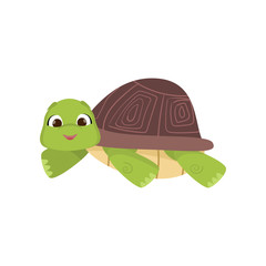 Cartoon comic green turtle lying on stomach isolated on white background