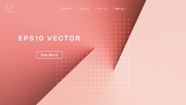 Abstract Geometric Background in Coral Tones. Aspect Ratio 16:9. EPS 10 Vector.