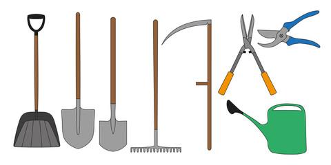 Set colors gardening tools. Shovel, rake, scythe, secateurs, watering can. Vector illustration.