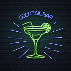 Neon sign cocktail bar on brick wall background. Vintage electric signboard.