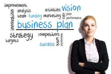 Geschäftsfrau mit Business Plan