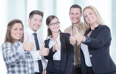 business team shows thumb up
