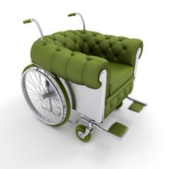 Green Leather club wheelchair