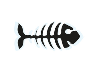 Fish skeleton vector icon illustration isolated on white background
