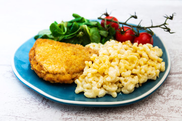 Cordon Bleu macaroni Pasta with salad