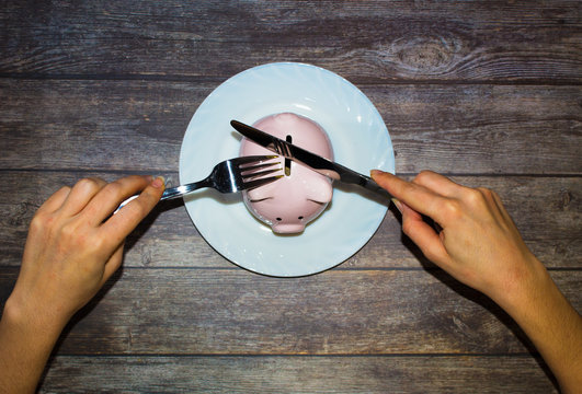 Piggy Bank on a plate