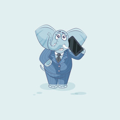elephant sticker emoticon with smart phone