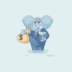 elephant with bag of money and glass martini