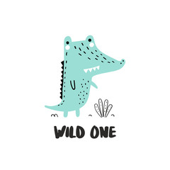 Cute crocodile illustration with hand-drawn lettering roar. Baby design for birthday invitation or baby shower, poster, clothing, nursery wall art and card. Little alligator in cartoon style.