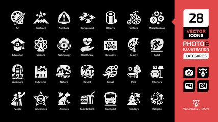 Vector categories and themes icon for photos and illustrations on a black background with recreation, landmark, buildings, industrial, nature, resort, travel, park, outdoor, interiors sections symbols