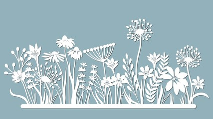 Echinacea, chamomile, schefler, noble hepatica, zephyrantes, stokesia. Vector illustration. Set of paper flower, stickers. Laser cut. Set template for laser cutting and Plotter. Vector illustration. S