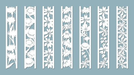 Echinacea, chamomile, schefler, noble hepatica, zephyrantes, stokesia. Panels with floral pattern. Flowers and leaves. Laser cut. Set of bookmarks templates. Image for laser cutting, plotter cutting o
