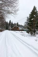 road in winter in the village