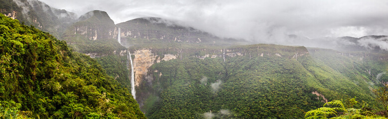 Highest water fall of Peru : the Gocta fall situated in the Amazonas area, near Chachapoyas
