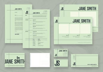 Resume, Portfolio and Postcard Layout Set