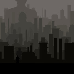 night city and the people in it. Concept vector illustration
