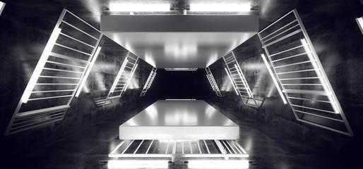 Smoke Fog Stage Dance Neon Laser White Fluorescent Sci Fi Futuristic Retro Light Tubes Scene  Grunge Concrete Reflective Podium Corridor 3D Rendering