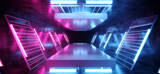 Stage Dance Neon Laser Ultraviolet Purple Pink Blue Fluorescent Sci Fi Futuristic Retro Light Tubes Scene  Grunge Concrete Reflective Podium Corridor 3D Rendering