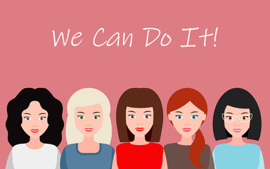 We Can Do It. Symbol of female power, woman rights, protest, feminism. Vector.