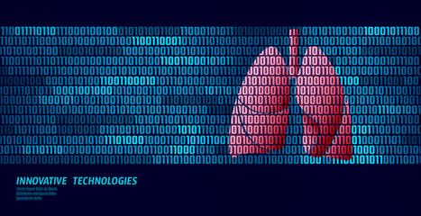 Healthy lungs respiratory internal organs. Binary code data flow. Doctor online innovative technology vector illustration