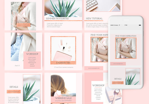 15 Social Media Post Layouts with Glitter Elements