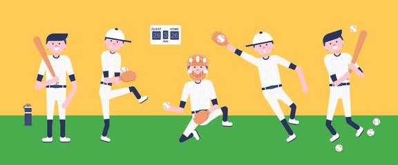 Vector Illustration. Set of baseball  cartoon players: catcher, pitcher in modern flat style. Baseball equipment icon. Baseball characters team