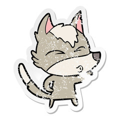 distressed sticker of a cartoon wolf pouting