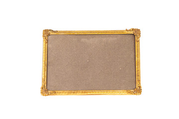 old gold frame picture isolated on white background