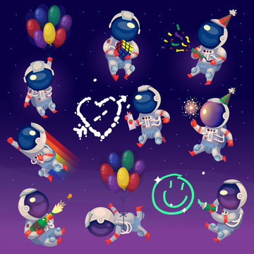 Set of cute party astronauts in space, having fun and celebrating. Isolated vector images.
