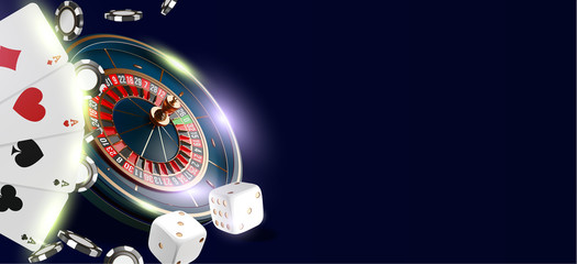 Online casino banner or flyer background. Vegas casino roulette wheel isolated on blue background. 3d realistic vector illustration. Online poker casino roulette gambling backdrop concept design.