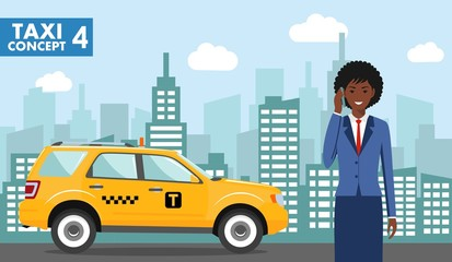 Taxi service concept. Detailed illustration of african american businesswoman on background with taxi and cityscape in flat style. Vector illustration.