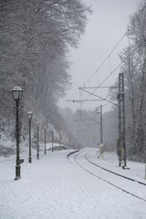 Railways covered by snow in winter. Slovakia