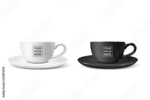 Realistic Vector 3d Blank White and Black Coffee Tea Cup, Mug Icon