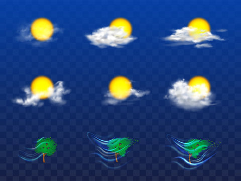 Vector 3d realistic set with weather forecast elements - sun in white clouds, grey mist and other meteorology icons. Tree with foliage in the wind isolated on transparent background. Metcast concept