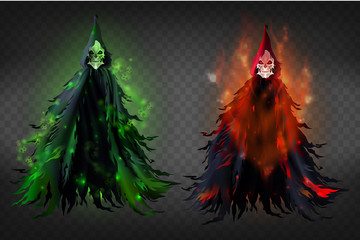 Vector 3d realistic illustration of death - horrible reaper in black dud, clothes with hoods. Black scary spirits with fire and green lights isolated on transparent background. Awful skeletons.