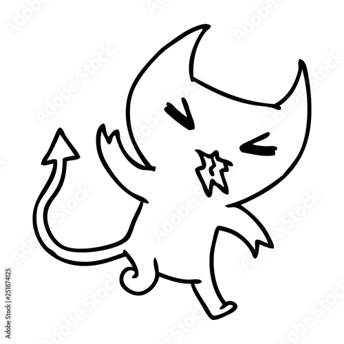 Line Drawing Of A Kawaii Cute Demon Stock Image And Royalty Free
