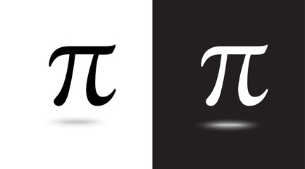 Vector sign Pi on black and white background