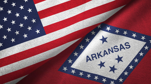 United States and Arkansas state two flags textile cloth, fabric texture