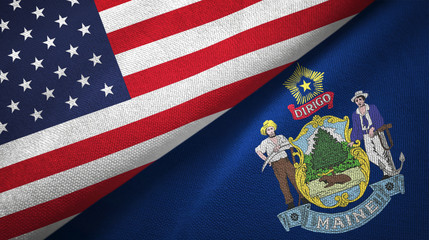 United States and Maine state two flags textile fabric texture
