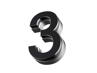 Number 3 - steel and carbon extruded number isolated on white background 3D render