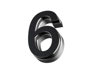 Number 6 - steel and carbon extruded number isolated on white background
