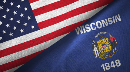 United States and Wisconsin state two flags textile cloth, fabric texture
