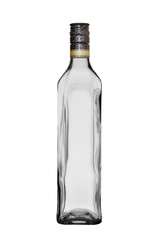empty glass bottle of the extended form with a stopper on a white background