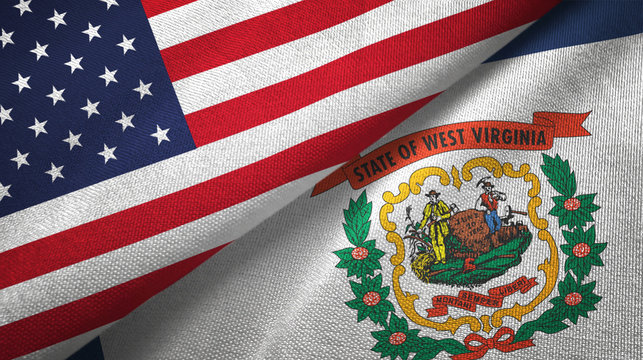 United States and West Virginia state two flags textile cloth, fabric texture
