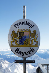 Zugspitze, Germany, mountain, snow, peak, winter, sign, bavaria