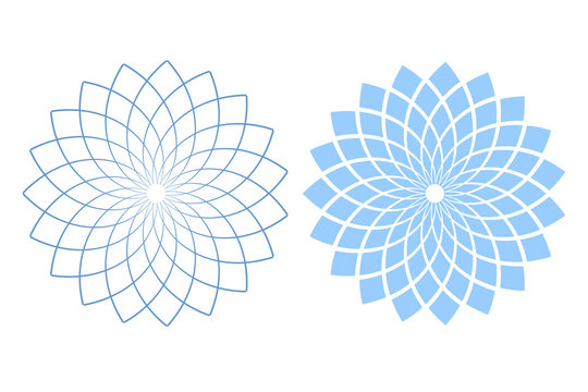 Design elements set. Abstract blue and white circle geometric patterns.