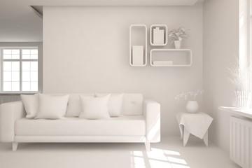Stylish minimalist room with sofa in white color. Scandinavian interior design. 3D illustration
