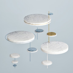 Mock up podium in abstract blue composition, 3d render, 3d illustration