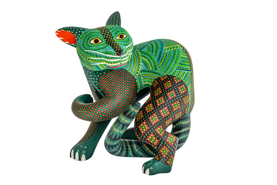 Mexican fantasy figures called Alebrijes. Elaborate painted weird sculptures made in Oaxaca, Mexico