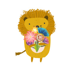 Cute childish hand drawn orange lion with bouquet of daisy flowers, illustration isolated on white background. Kids sketchy great safari cat character for print design, stickers, background decoration